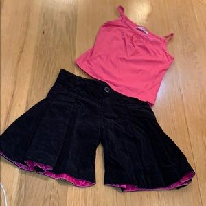Catimini Velvet Shorts & Pink Tank Top Size 6